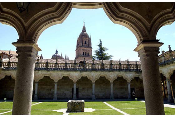 Panoramic view of Salamanca Cathedral from the courtyard