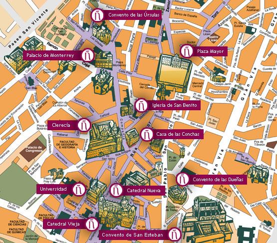 mapa de salamanca espanha Um Passeio por Salamanca   Salamanca Cidade do espanhol mapa de salamanca espanha